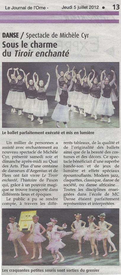 Sous le charme du Tiroir Enchanté. Extrait du Journal de l'Orne du 5 juillet 2012.