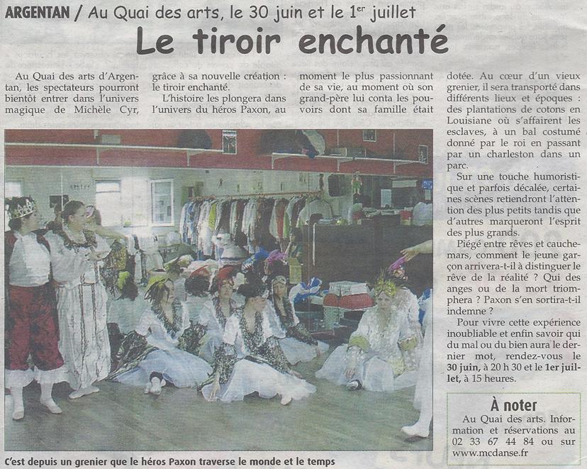 Le tiroir enchanté. Extrait du Journal de l'Orne du 28 juin 2012