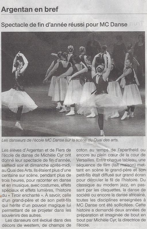 Spectacle de fin d'année réussi pour MC DANSE. Extrait du Ouest France du 03/07/2012
