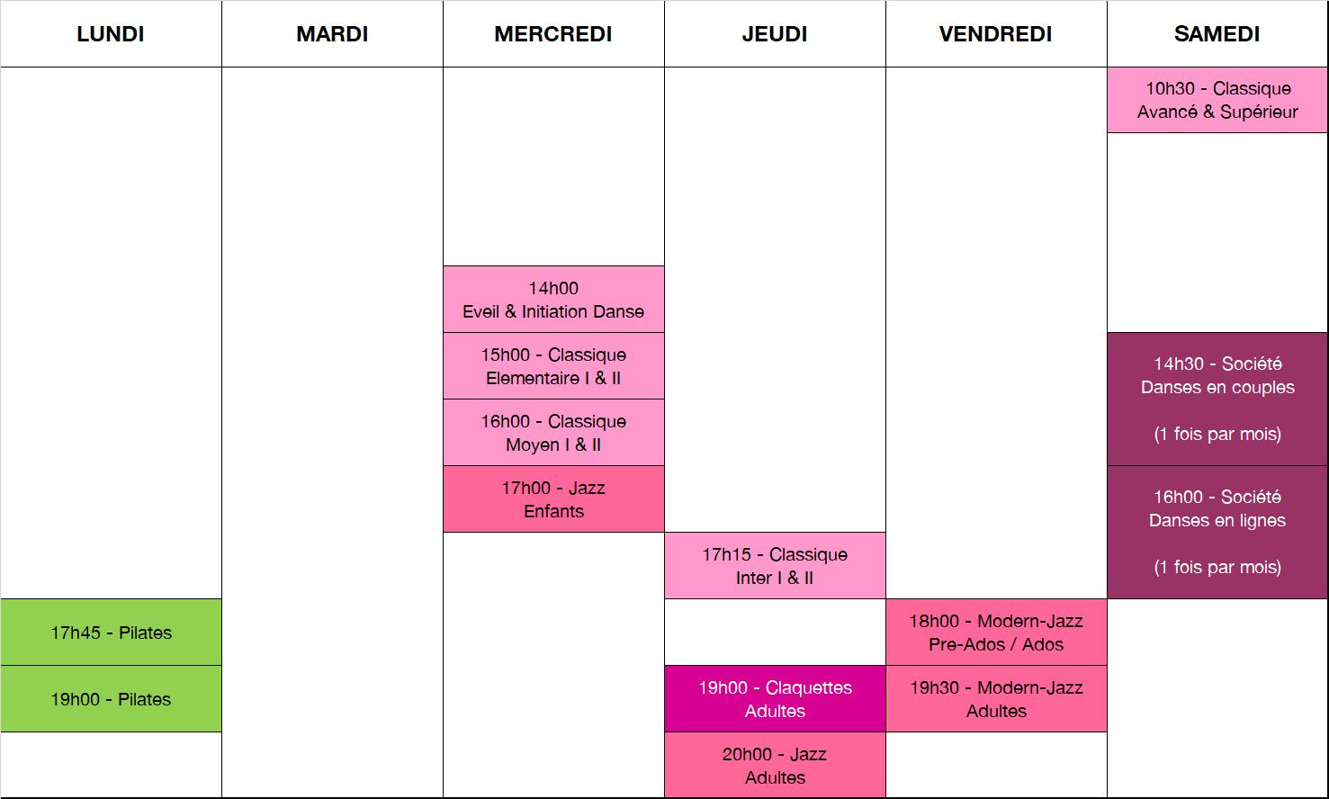Planning de l'école d'Argentan 2018/2019