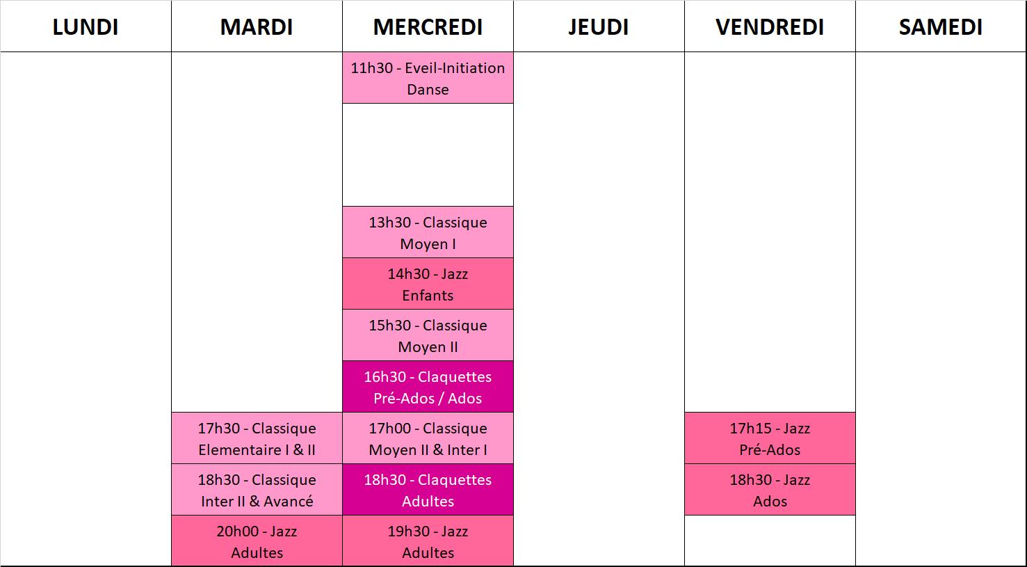 Planning de l'école de Flers 2018/2019